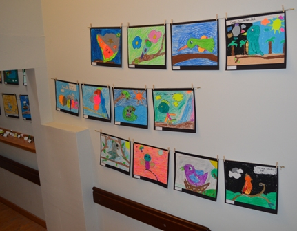 2015 March-April Pine Hill grade 3 realistic bird sculptures and imagination bird pastels (2)