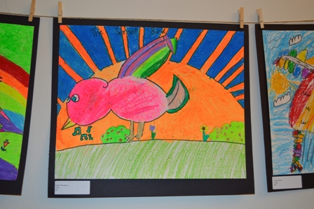 2015 March-April Pine Hill grade 3 realistic bird sculptures and imagination bird pastels (7)