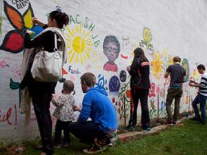Art in Pocket Park, Bangor, ME © Pigeon Nation
