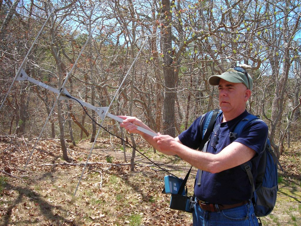Tim uses aerial antenna to find tagged turtles at the sanctuary