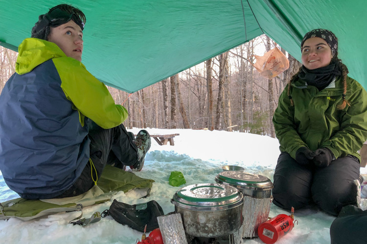 Camp cooking in winter