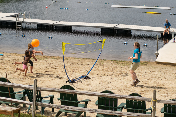 Playing a little beach volleyball on Hubbard Pond