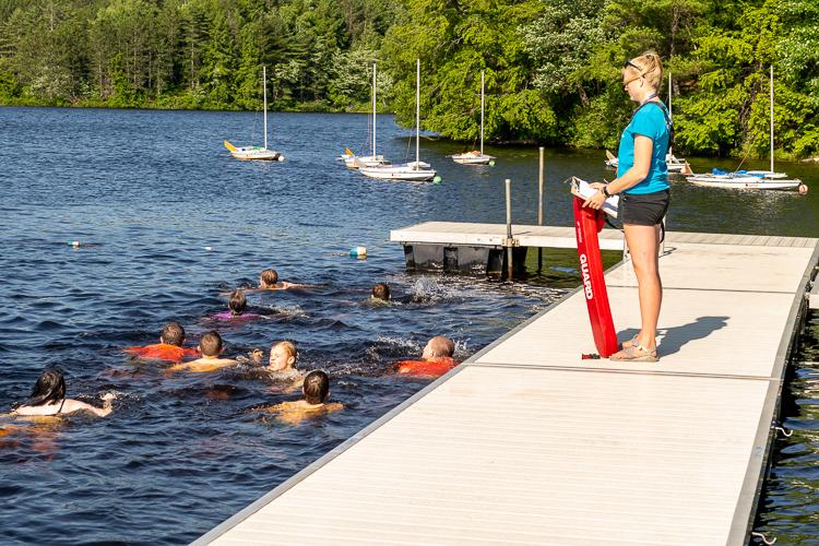 Waterfront Director Livy administering Swim Checks