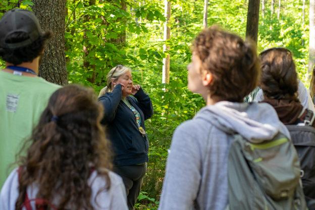 Wildwood Director Becky Gilles leading a Beginning Birding class