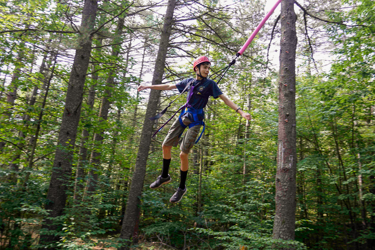 Up in the air at the ropes course