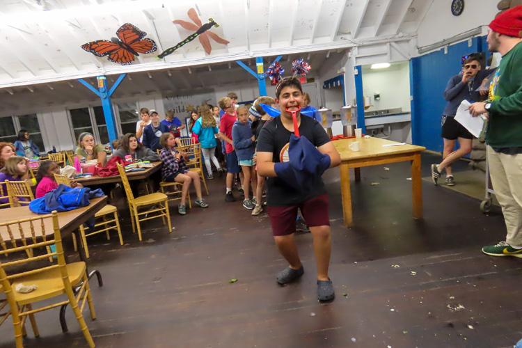 Campers showing off their creative costumes in the dining hall