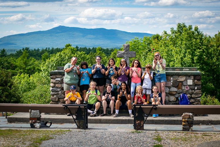 At Cathedral of the Pines with Mount Monadnock in the background