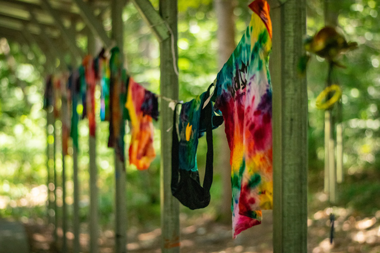 Tie-dye clothes hanging on a line