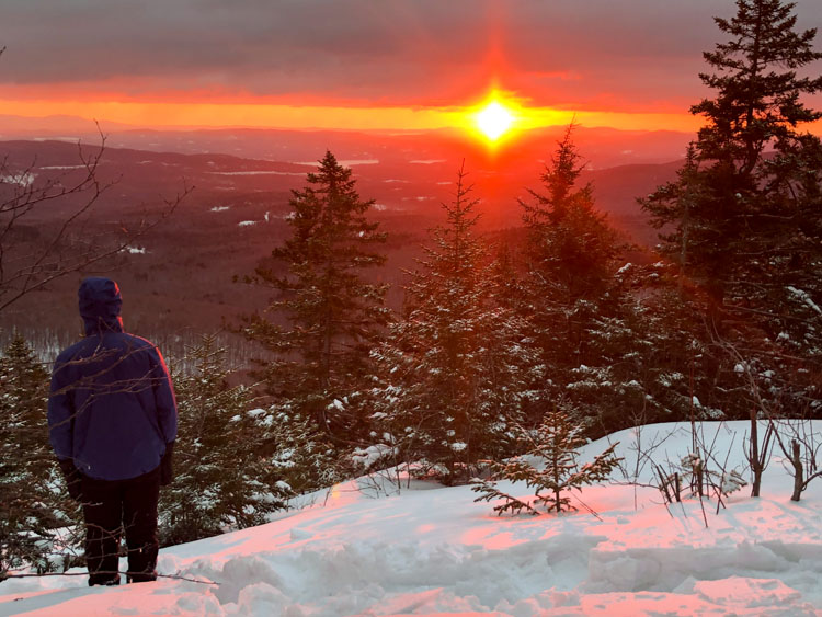 Sunset from Mount Cardigan during the 2019 Winter in the Whites Teen Adventure Trip