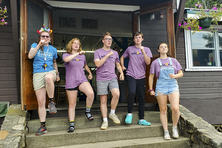 Teens Lead a Song and Dance Outside the Wildwood Dining Hall