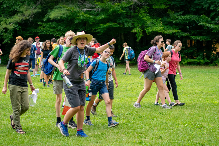 Nina Swett leading a group of campers during a Camp Olympics activity