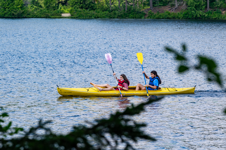 Two Session 2 campers out for a kayak during afternoon DGs