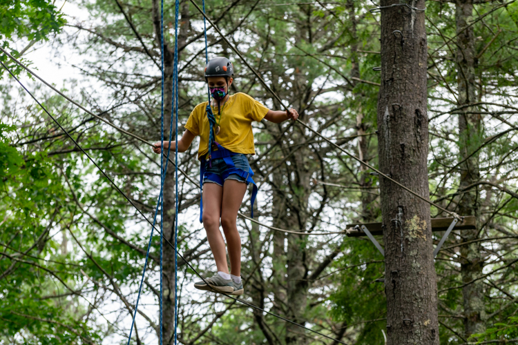 Taking on the Burma Bridge at the Ropes Course