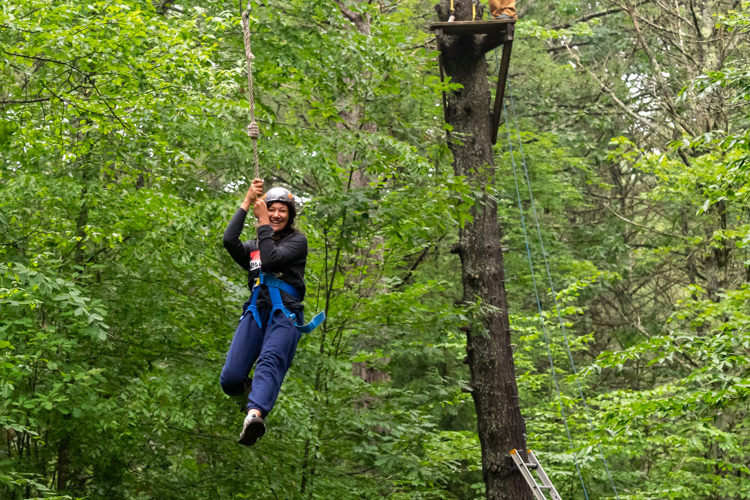 Zipline fun at the high ropes course