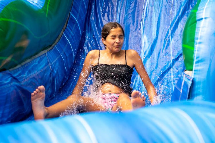 Making a splash on the water slide