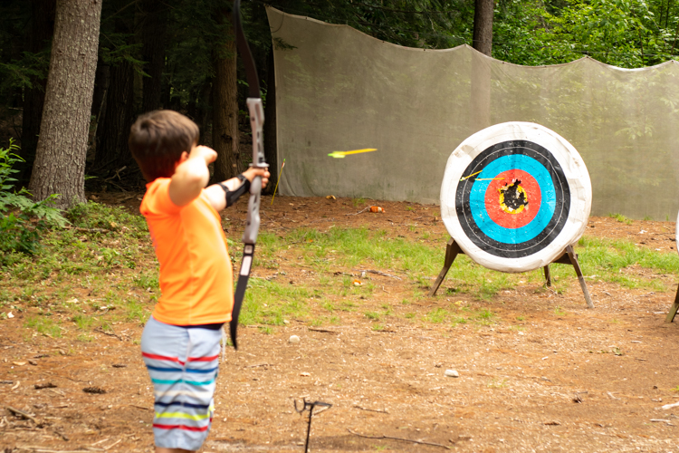 Honing our archery skills at the range