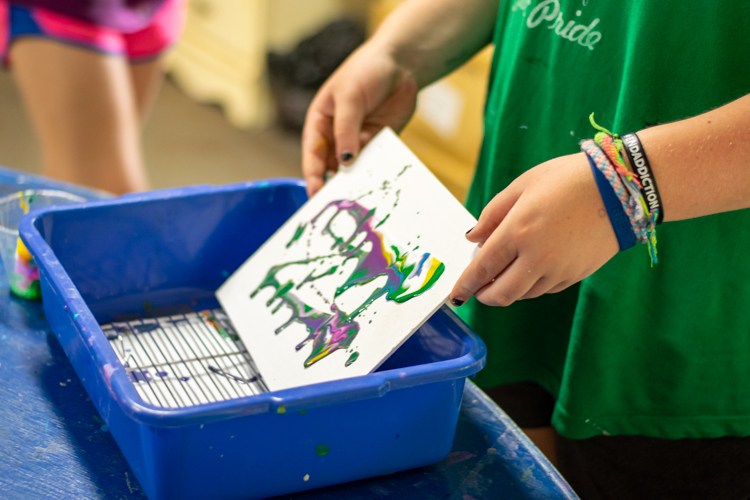 Making drip paintings during DGs