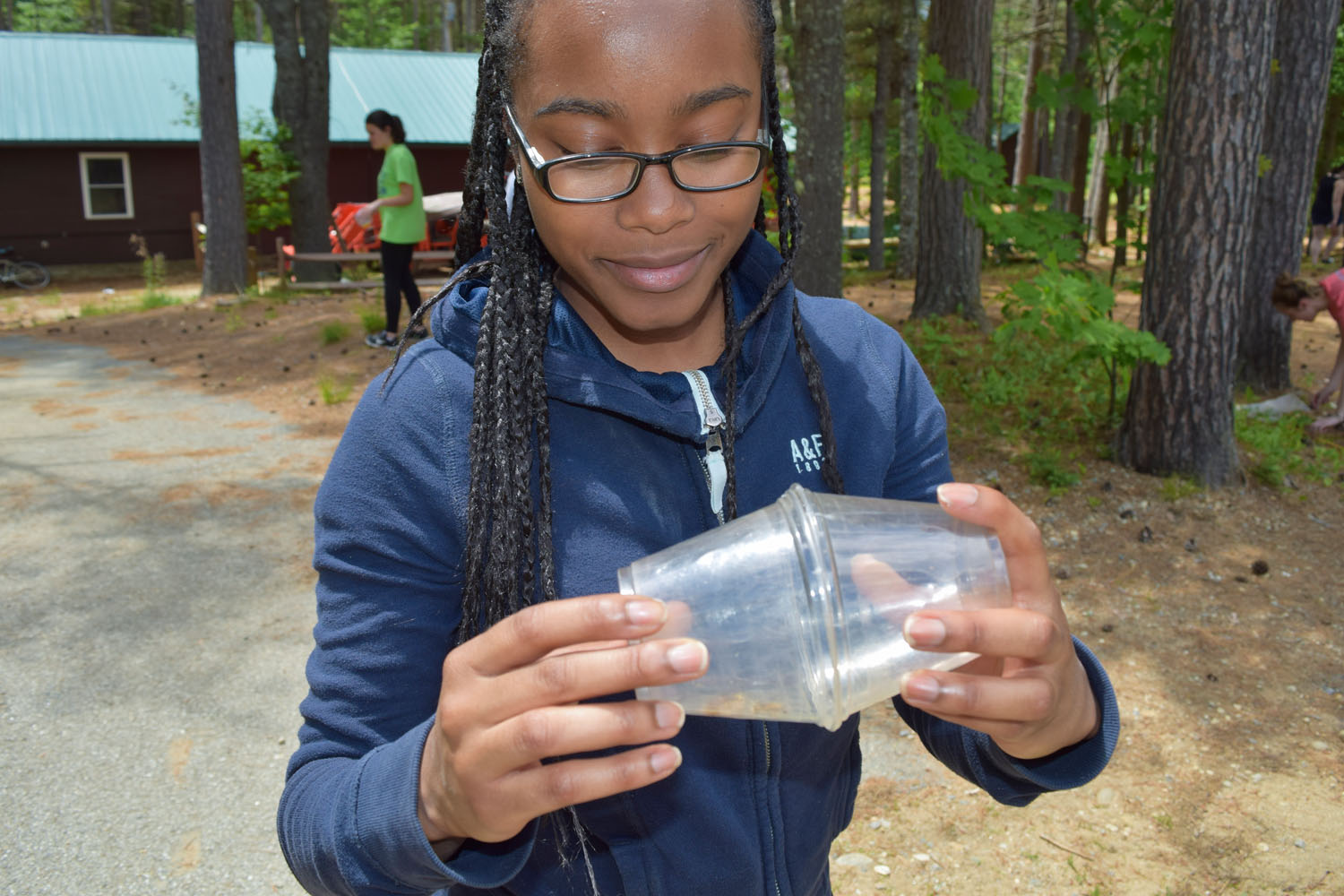Counselors learned about the life cycles of butterflies and dragonflies, lessons they can share with their campers this summer, and went on a Bug Hunt. This counselor captured something neat in her bug cup! What could it be?