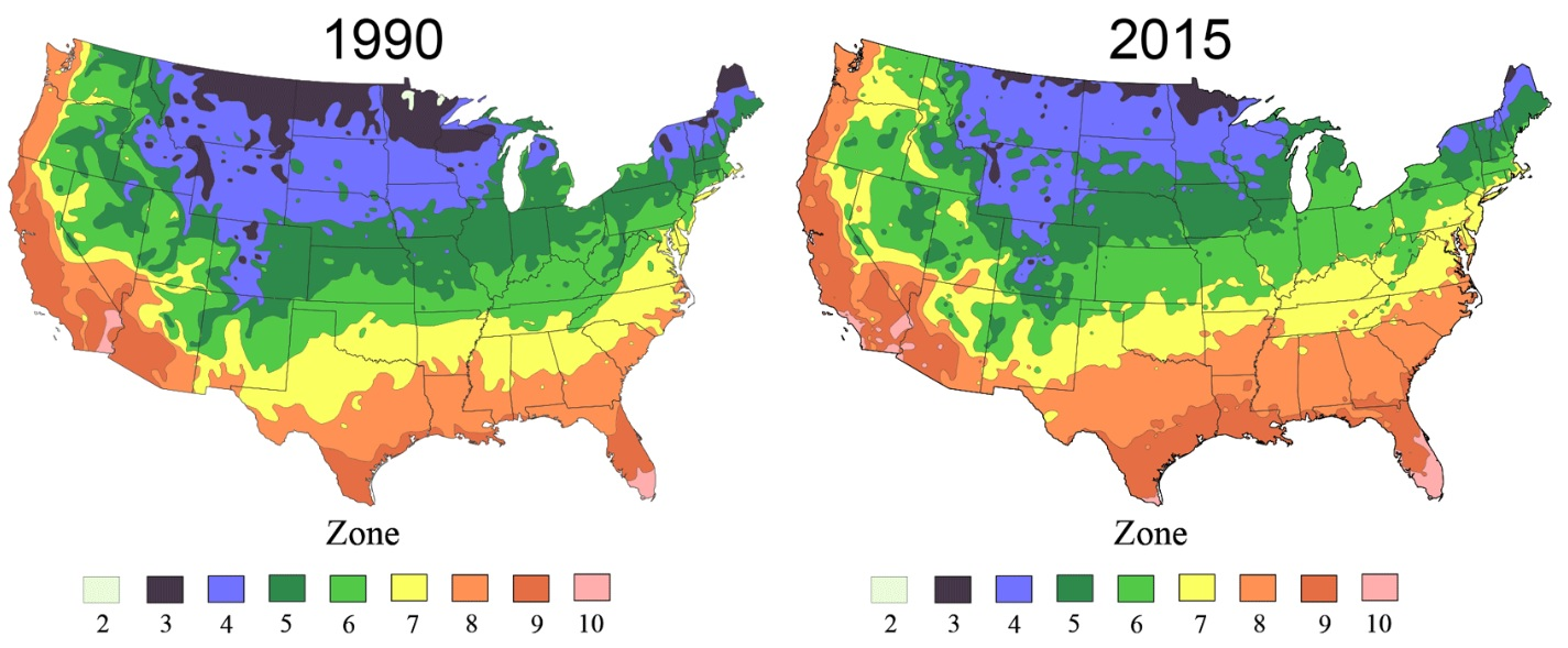 plant hardiness zones 1990 and 2015 images from usda and arbor day foundation