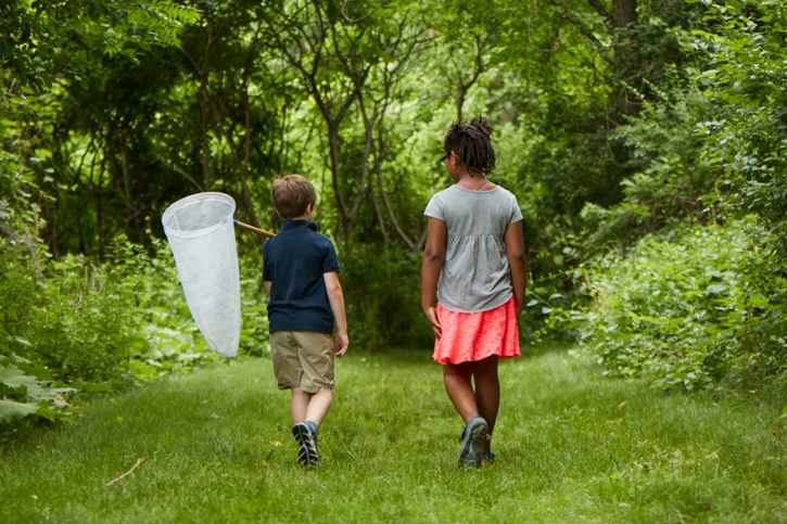 Children enjoying the trails at Boston Nature Center