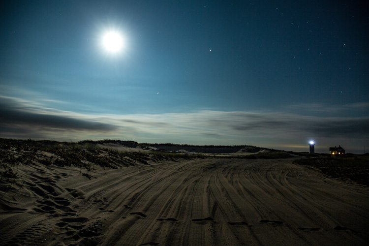 Stars and moon over the beach
