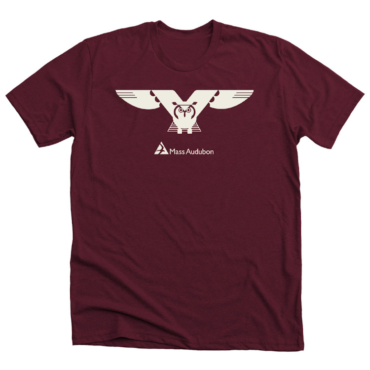 Mass Audubon Flying Owl Shirt Maroon