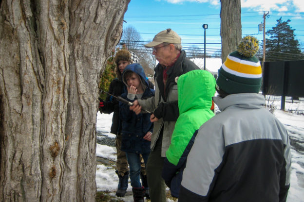 Otter Brown leading a maple sugaring program at Oak Knoll