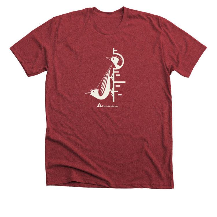 Mass Audubon Bonfire Shirt Climbing Nuthatches Red