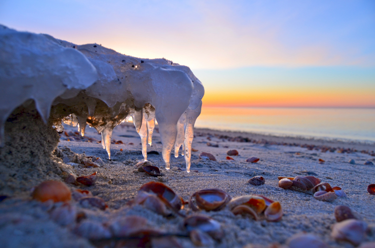 Ice formation on West Dennis Beach © Craig Daniliuk