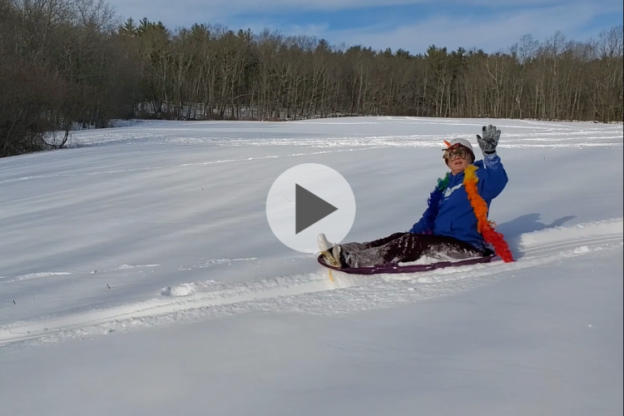 Sledding with Wachusett Meadow Camp Director Elizabeth Broughton