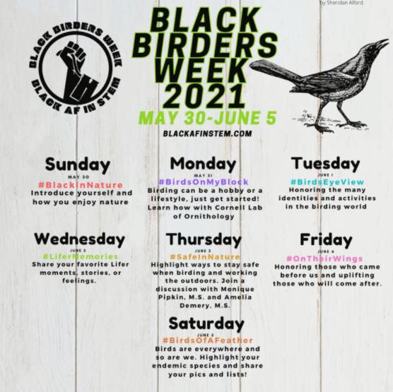 Black Birder's Week 2021 Schedule Overview
