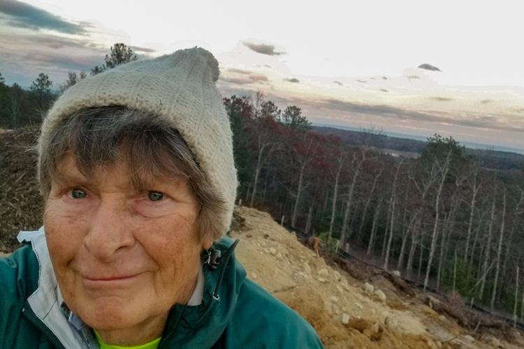 Jan Spence at Pine Hills Ridge, overlooking Tidmarsh Wildlife Sanctuary